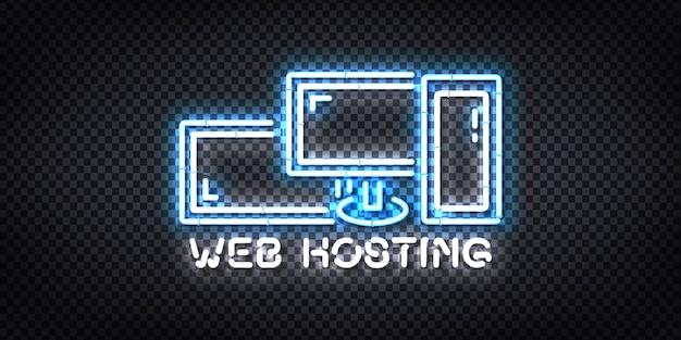 Realistyczny izolowany neonowy znak hostingu internetowego.