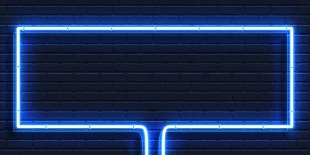 Realistyczny izolowany neonowy znak niebieskiej prostokątnej ramki dla szablonu i układu na tle ściany.