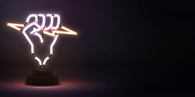 Realistyczny izolowany neonowy znak pięści trzymającej logo błyskawicy do dekoracji i pokrycia szablonu.