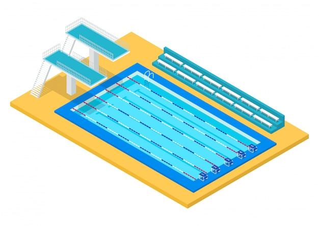 Realistyczny izometryczny basen sportowy. ilustracja.