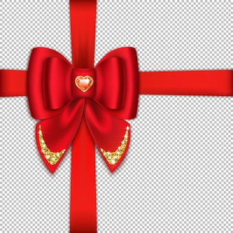 Realistyczny jasny czerwony łuk i wstążka oraz czerwony kamień w kształcie serca. z jasnym błyszczącym brokatem.