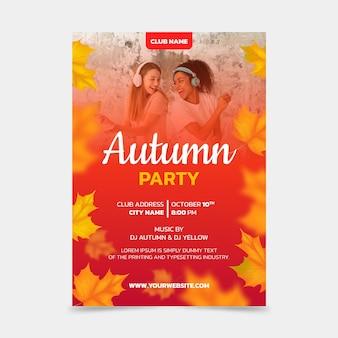 Realistyczny jesienny pionowy plakat szablon ze zdjęciem