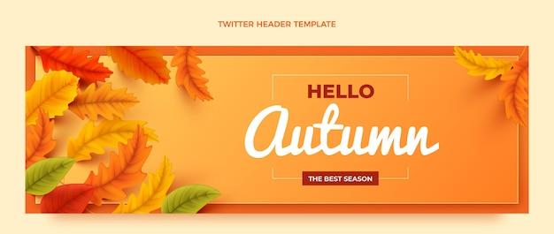 Realistyczny jesienny szablon nagłówka mediów społecznościowych