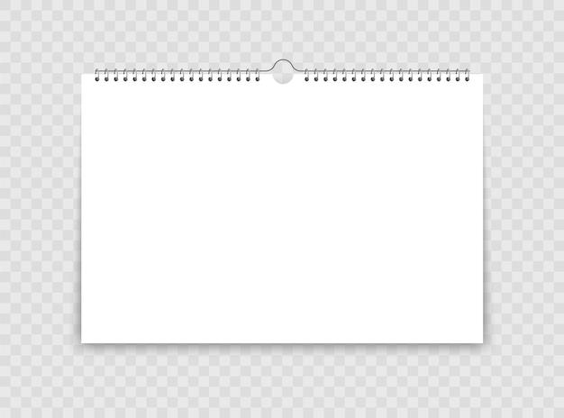 Realistyczny kalendarz ścienny ze spiralą.