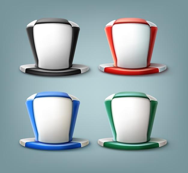 Realistyczny kapelusz kibica piłki nożnej w różnych kolorach na białym tle