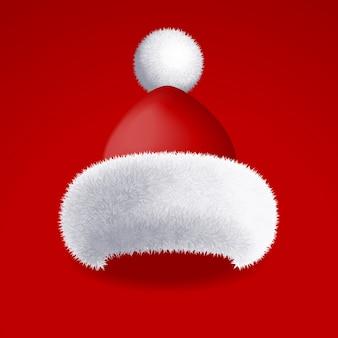 Realistyczny kapelusz santa z białym futrem na białym tle na czerwonym tle