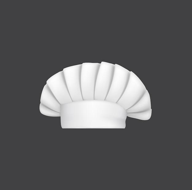 Realistyczny kapelusz szefa kuchni, czapka kucharska i 3d biały toczek piekarza. wektor nakrycia głowy do kuchni, kostiumy kulinarne, rzeczy do noszenia głowy personelu restauracji ze złożoną koroną na białym tle om biały