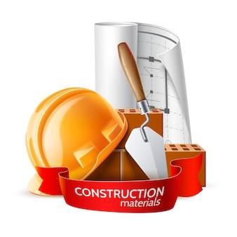 Realistyczny kask, plan, kielnia do zaprawy i cegły