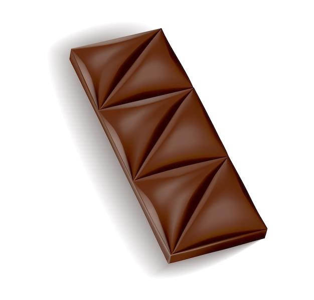 Realistyczny kawałek czekolady z ciemnej lub mlecznej czekolady. kawałek deseru kakaowego lub kwadratowy cukierek czekoladowy. jedzenie słodka przekąska na białym tle