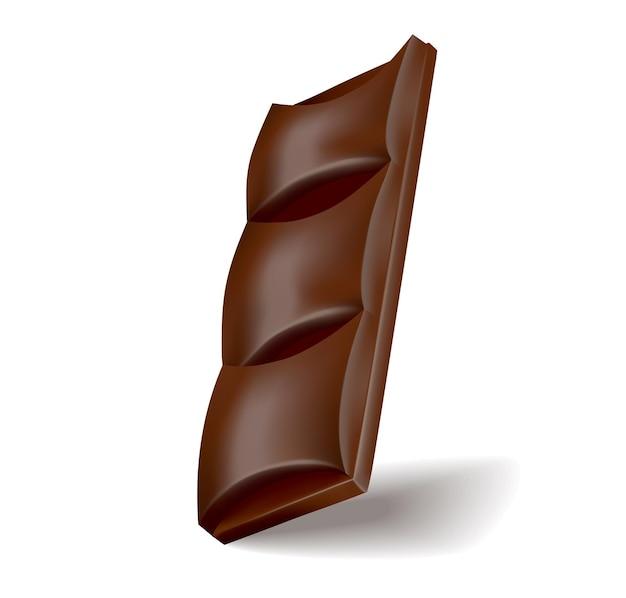 Realistyczny kawałek czekolady z ciemnej lub mlecznej czekolady. kawałek deseru kakaowego lub kwadratowy cukierek czekoladowy. słodka przekąska jedzenie na białym tle.