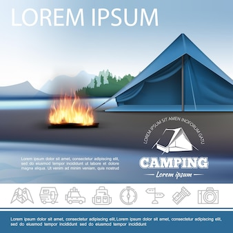 Realistyczny kemping piękny szablon z ogniskiem namiotu na brzegu jeziora i liniowymi ikonami rekreacji na świeżym powietrzu