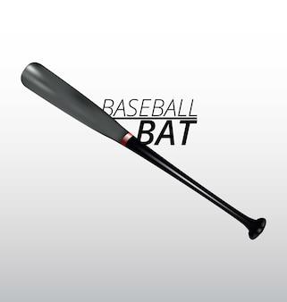 Realistyczny kij bejsbolowy w kolorze szarym i czarnym 3d realistyczny kij baseballowy