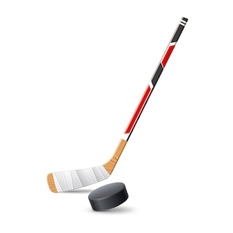 Realistyczny kij hokejowy z krążkiem do zawodów sportowych i zakładów.