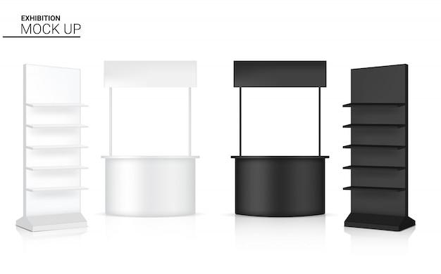 Realistyczny kiosk 3d wyświetl pop stoisko i półka na sprzedaż promocja marketingowa ilustracja wystawy