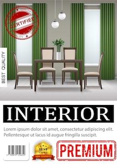 Realistyczny klasyczny plakat wnętrza domu z krzesłami w pobliżu stołu roślina doniczkowa zielone zasłony lampy parkiet