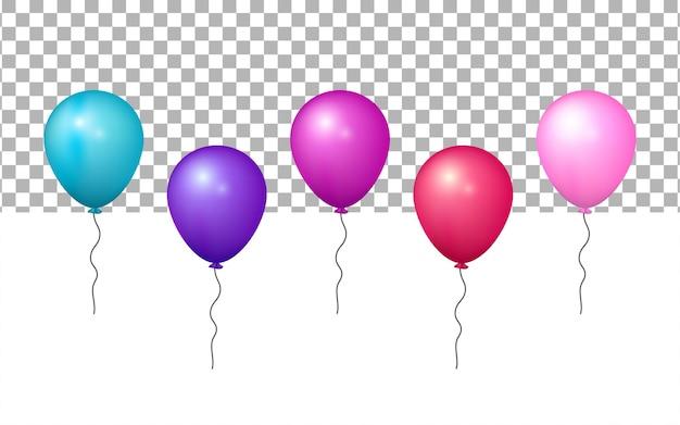 Realistyczny kolorowy balon 3d na przezroczystym tle
