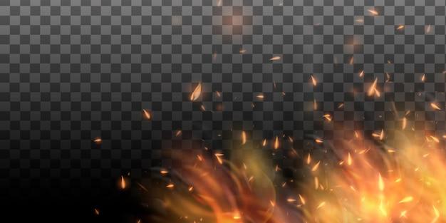 Realistyczny kolorowy obraz linii bon płomień ognia z poziome odbicie dymu i iskier na czarnym tle. streszczenie tło ognia.