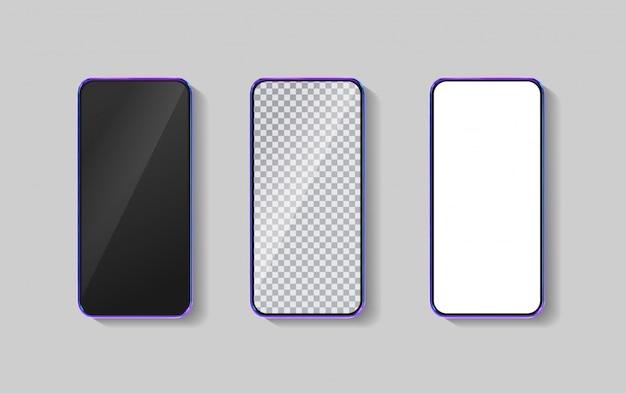 Realistyczny kolorowy smartfon 3d. szablon do infografiki i projektowania interfejsu użytkownika. ramka telefonu z pustym wyświetlaczem na białym tle szablonów.