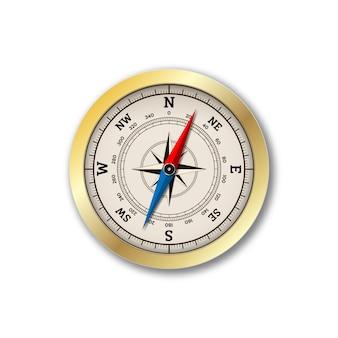 Realistyczny kompas na białym tle