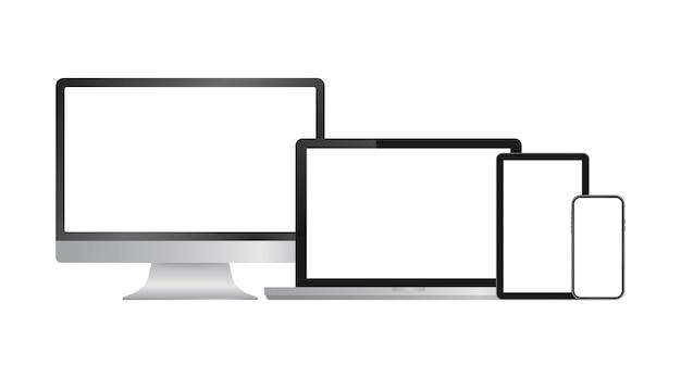 Realistyczny komputer laptop smartfon i tablet. szablon wyświetlania ekranu monitora. ilustracja wektorowa
