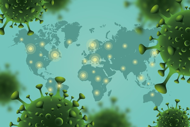 Realistyczny koronawirus z koncepcją mapy