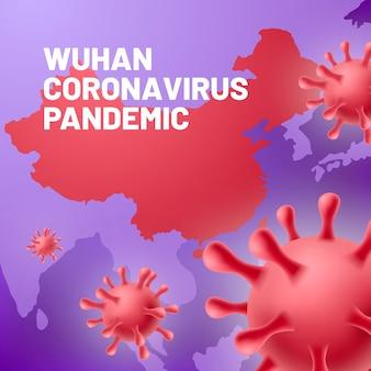 Realistyczny koronawirus z mapą