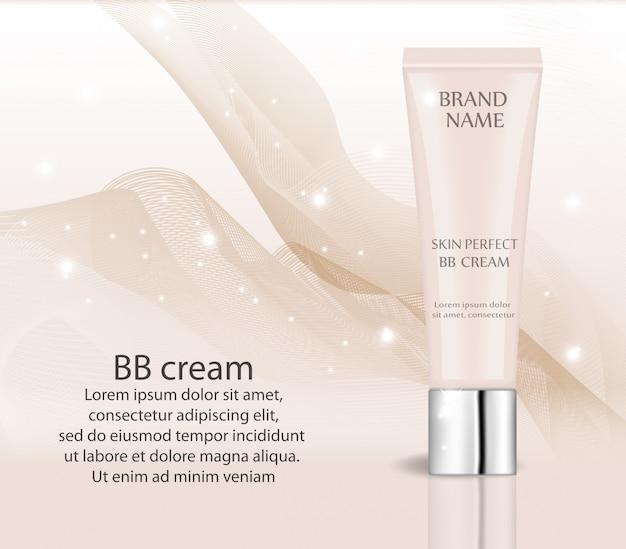 Realistyczny krem bb, szablon projektu podkładu do kosmetyków. makijaż, koncepcja czystej skóry. 3d tubka makiety tonera.