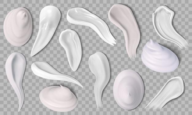 Realistyczny krem do twarzy. próbki kremu do skóry, kremowa porcja kremu nawilżającego i pianki do golenia. zestaw ikon rozmazów kremu higienicznego. balsam krem, kremowy produkt, ilustracja makijażu do pielęgnacji skóry