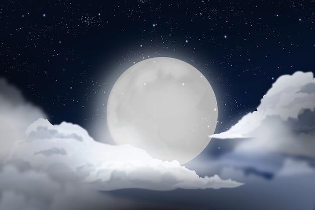 Realistyczny księżyc w pełni projekt tła nieba