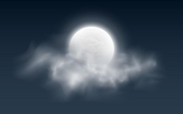 Realistyczny księżyc w pełni z chmurami na ciemności