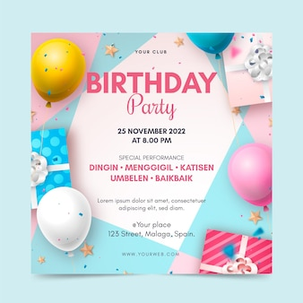 Realistyczny kwadratowy szablon ulotki urodziny