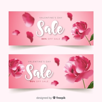 Realistyczny kwiat valentine sprzedaży transparent