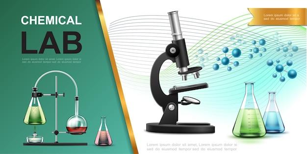 Realistyczny laboratoryjny szablon badań chemicznych z kolbami mikroskopowymi probówki palnik lampy spirytusowej i ilustracja cząsteczek