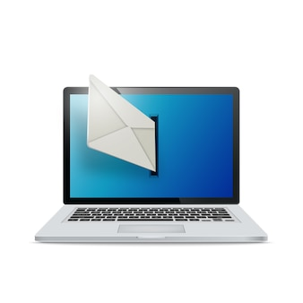 Realistyczny laptop na białym tle. e-maile wylatują z ekranu laptopa. pojęcie e-mailingu.