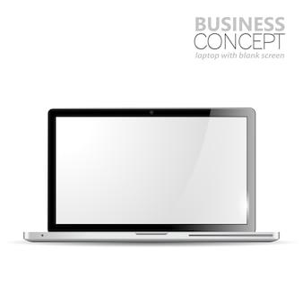 Realistyczny laptop na białym tle