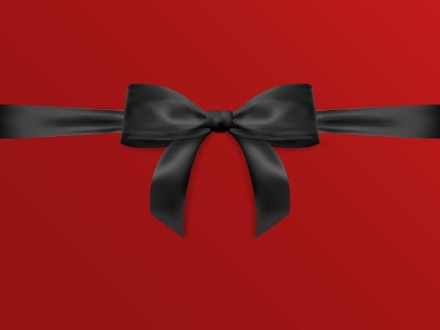 Realistyczny łuk na białym tle na czerwonym tle. czarne kokardki prezentowe na kartki, prezentację, walentynki, boże narodzenie i urodziny.