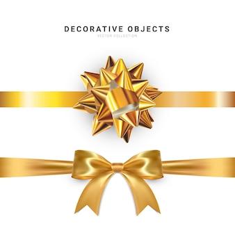 Realistyczny łuk na białym tle. złote kokardki prezentowe