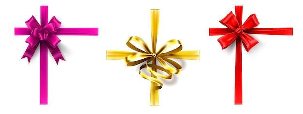 Realistyczny łuk na prezent. wstążka krzyżowa z kokardką, ozdabiająca wstążki do pudełka. wektor zestaw kokardek różowy, złoty i czerwony. kolekcja ozdobnych wiązanych taśm satynowych, eleganckie ozdoby do pakowania prezentów świątecznych.