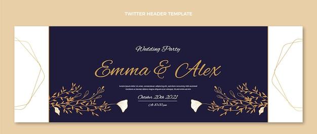 Realistyczny luksusowy ślubny nagłówek twittera