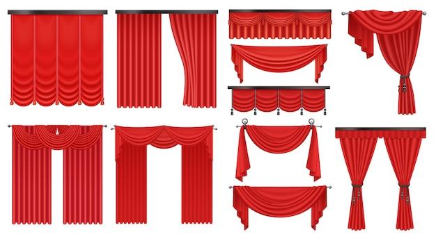 Realistyczny luksusowy szkarłatny czerwony jedwab, drogie aksamitne zasłony draperie ustawione na białym tle.