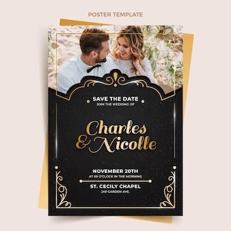 Realistyczny luksusowy złoty plakat ślubny