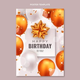 Realistyczny luksusowy złoty plakat urodzinowy