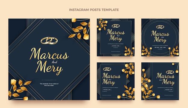 Realistyczny luksusowy złoty ślub ig post