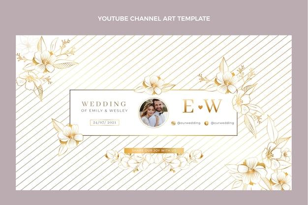 Realistyczny luksusowy złoty ślubny kanał youtube
