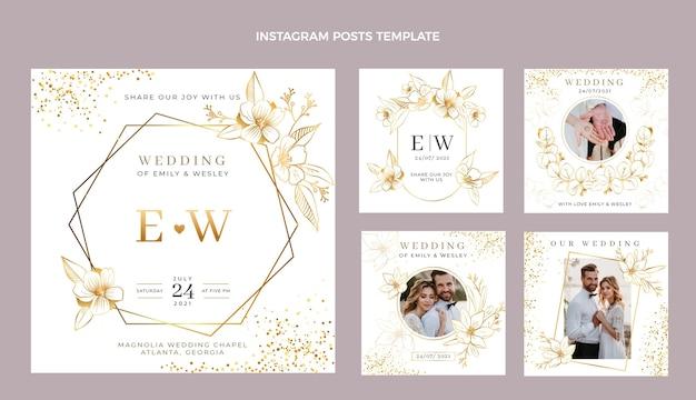 Realistyczny luksusowy złoty ślubny post ig