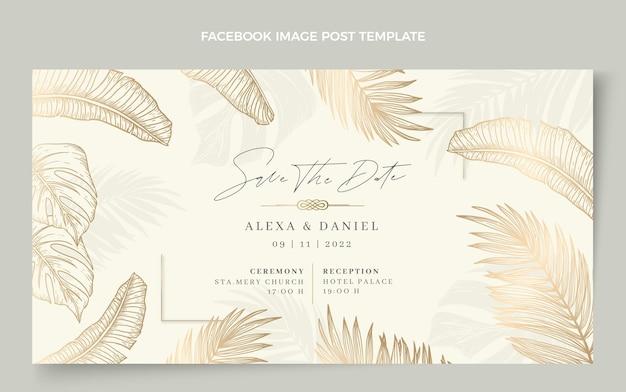 Realistyczny luksusowy złoty ślubny post na facebooku
