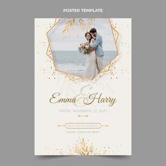 Realistyczny luksusowy złoty szablon plakatu ślubnego