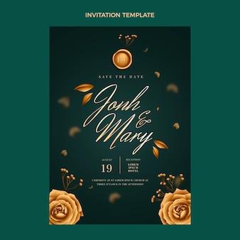 Realistyczny luksusowy złoty szablon zaproszenia na ślub