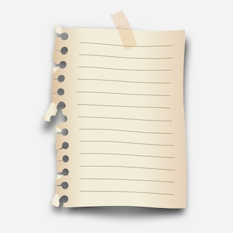 Realistyczny luźny papier w liście z przezroczystą taśmą maskującą