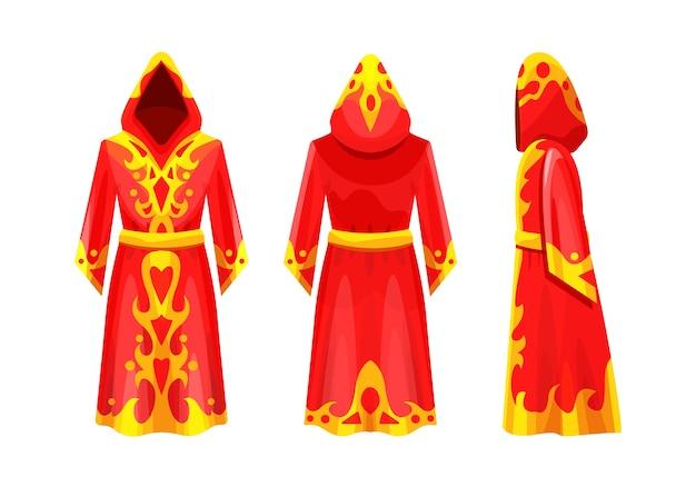 Realistyczny magiczny czerwony płaszcz z ornamentem